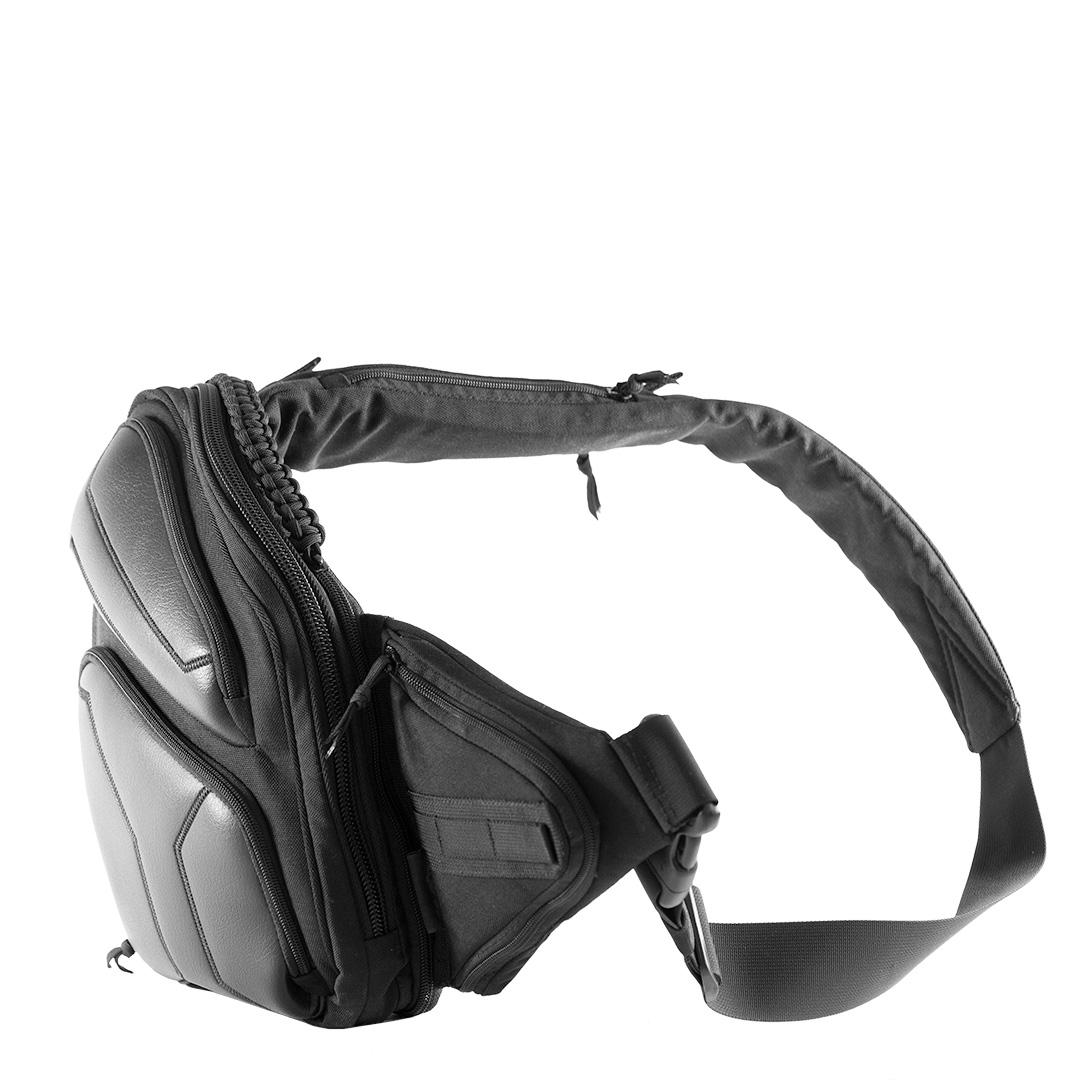 Пистолетная сумка для скрытого ношения оружия 9Tactical Sling SQB (Small Quick Box) ECO Leather Black Stripes Octagon.