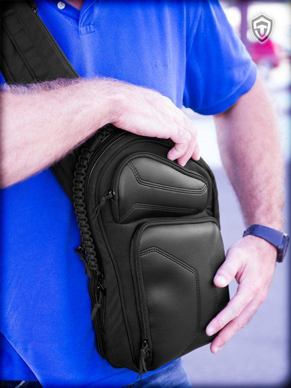 Sling LQB. Слинг сумка телохранителя, медика, туриста. Чёрная.
