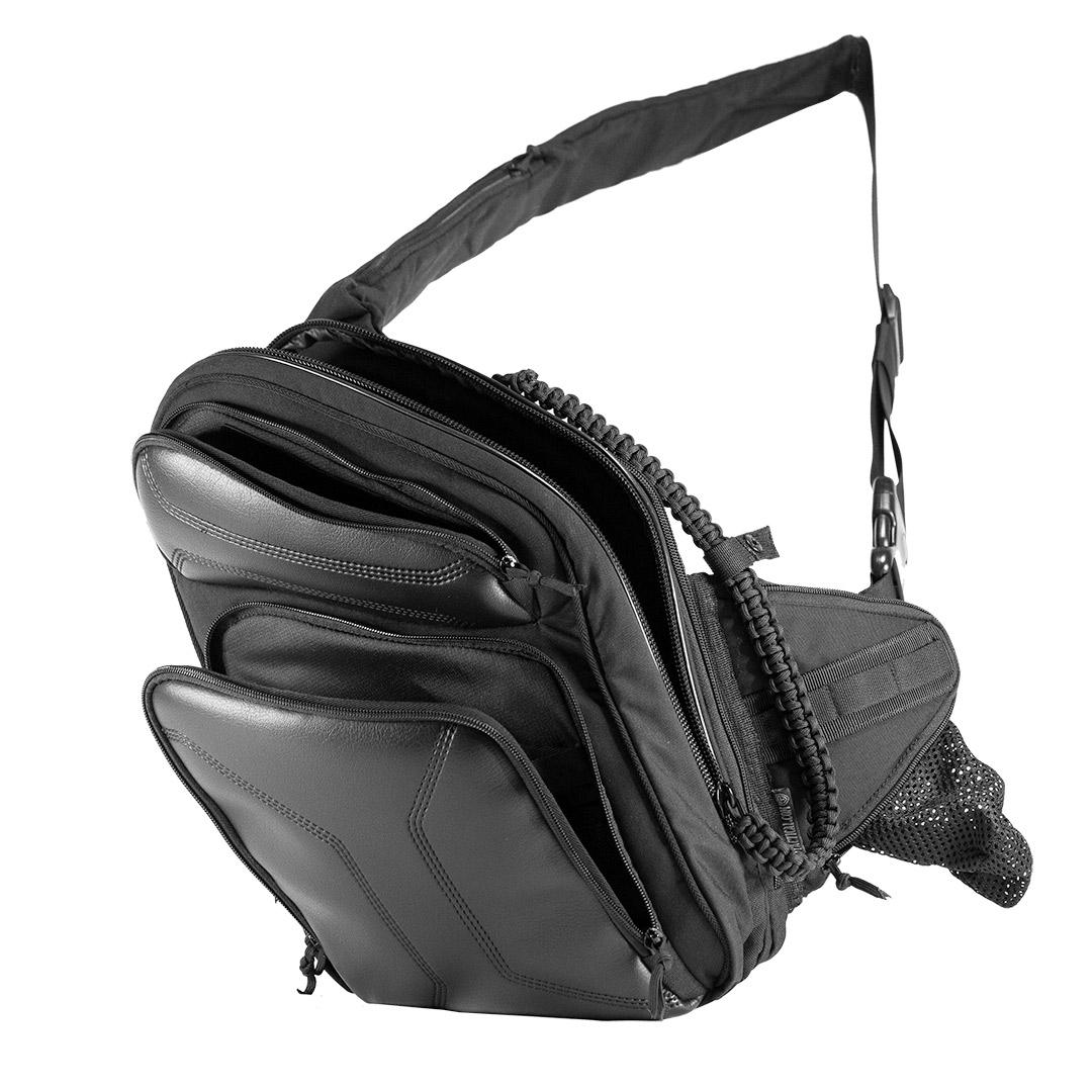 9Tactical Sling LQB. Слинг сумка телохранителя, медика, туриста. Чёрная.