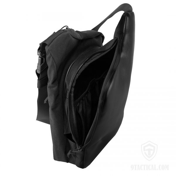 9Tactical City Bag M ECO Leather. Чёрная мужская сумка для пистолета и EDC.